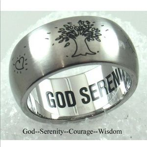Tree of Life Heart Ring SS 9 MM Serenity Courage
